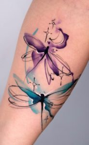 Purple Dragonfly Tattoo