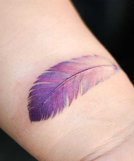 Purple Feather Tattoo