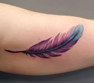 Purple Feather Tattoo