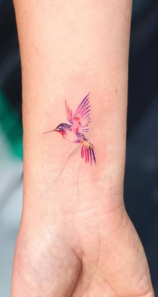 Purple Hummingbird Tattoo