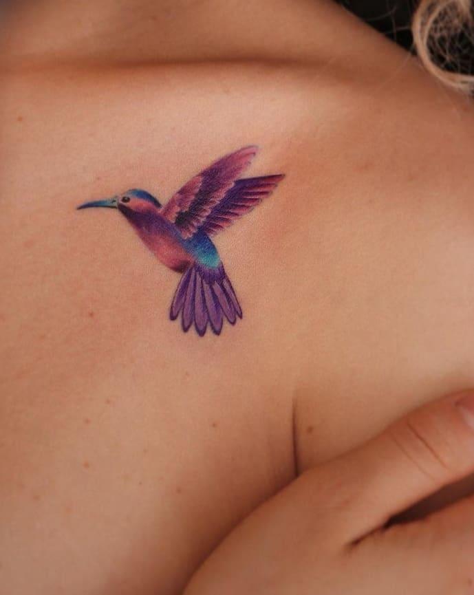 Purple Hummingbird Tattoo