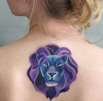 Purple Lion Tattoo
