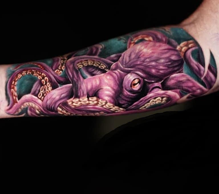 Purple Octopus Tattoo
