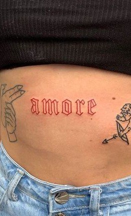 Red Lettering Tattoo