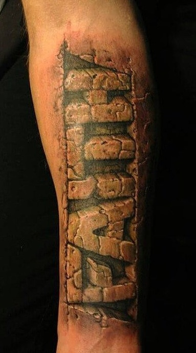Stone Lettering Tattoo