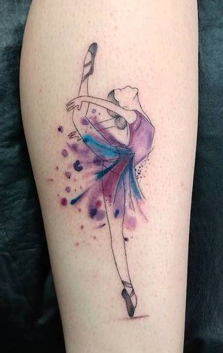 Teal and Purple Tattoo