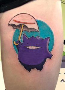 Teal and Purple Tattoo