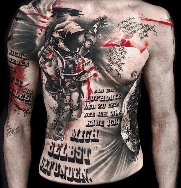 Trash Polka Lettering Tattoo