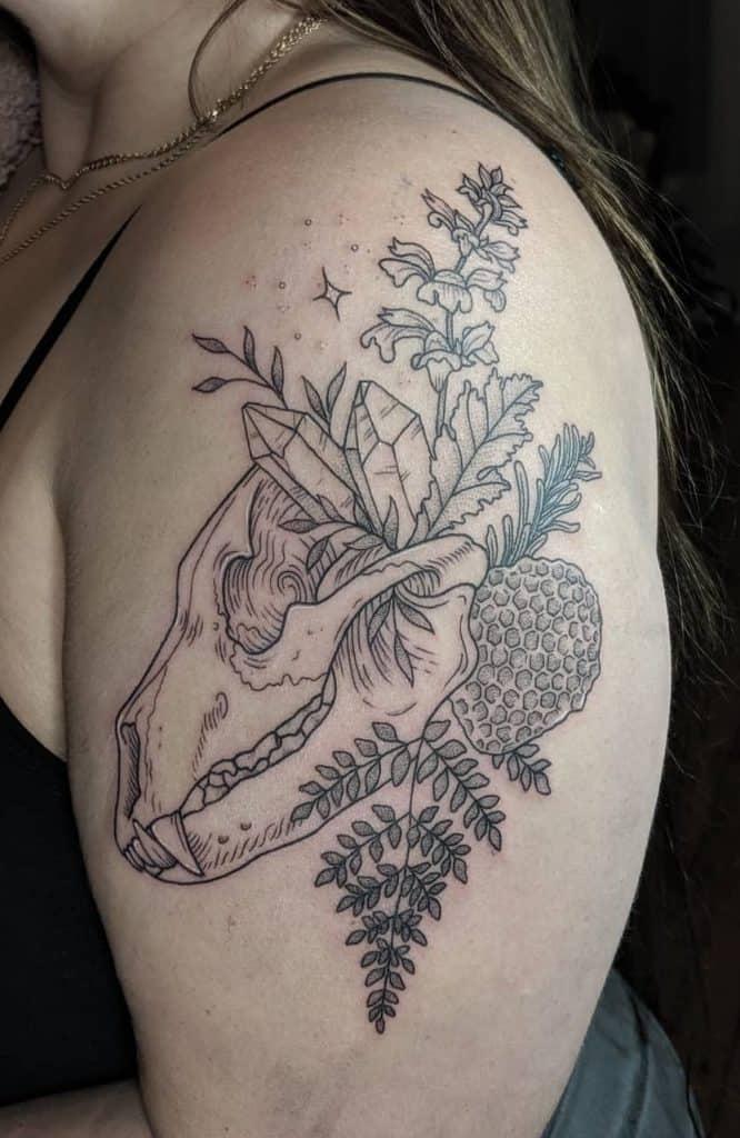 Bear Skull Tattoo with Flower Tattoo