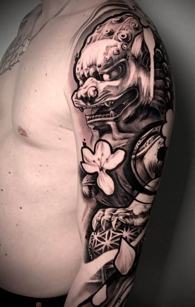 Black and Grey Foo Dog Tattoo