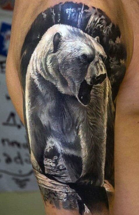 Black and Grey Polar Bear Tattoo