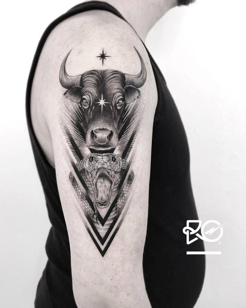 Bull and Snake Tattoo