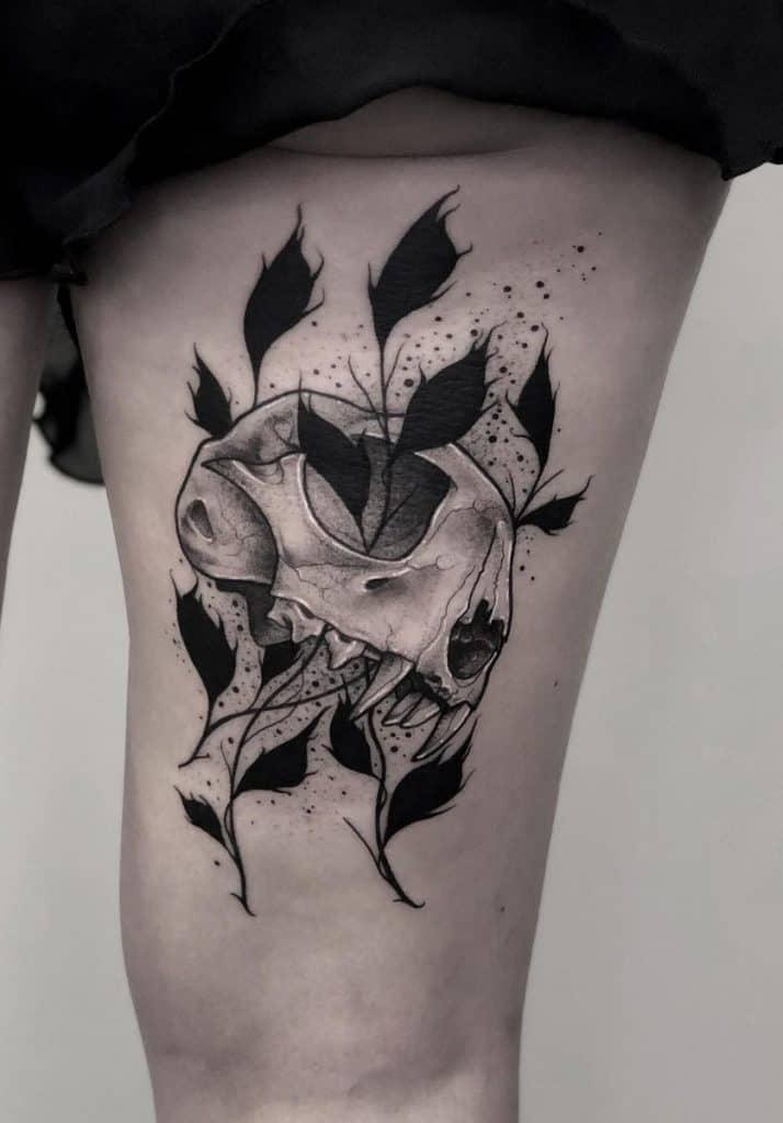 Cat Skull Tattoo