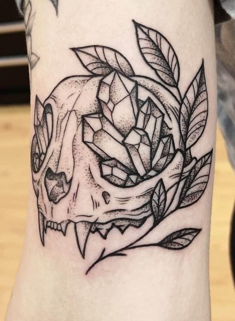 Cat Skull Tattoo with Crystal Tattoo