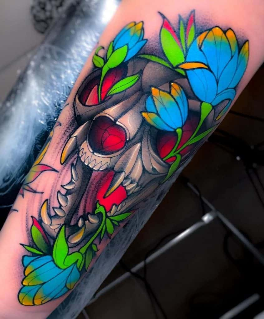Cat Skull Tattoo with Flowers
