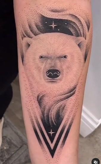 Dot-work Polar Bear Tattoo