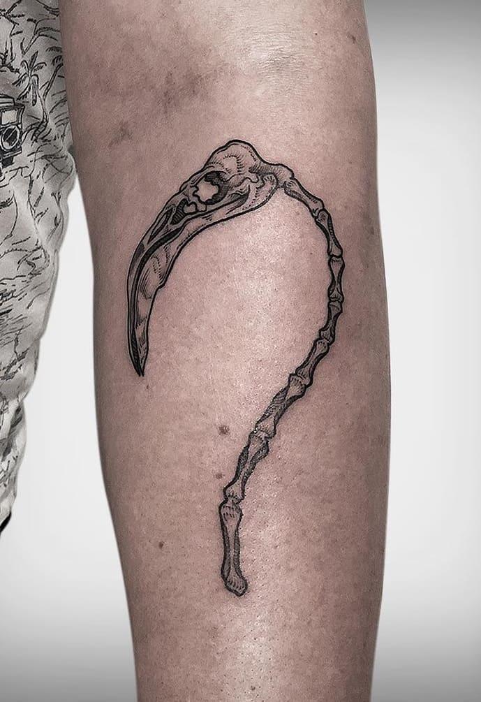 Flamingo Skull Tattoo
