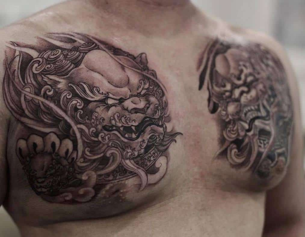 Foo Dog Tattoo on Chest