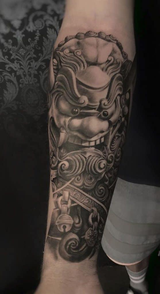 Foo Dog Tattoo on Forearm