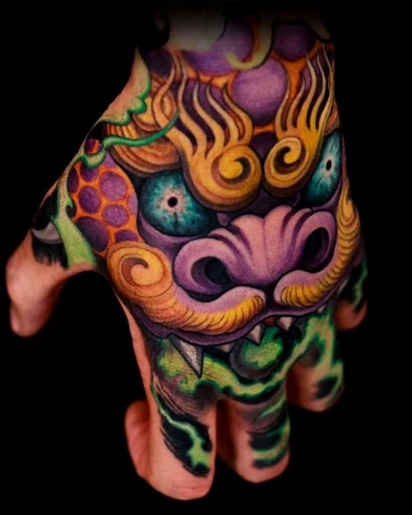 Foo Dog Tattoo on the back of the Hand