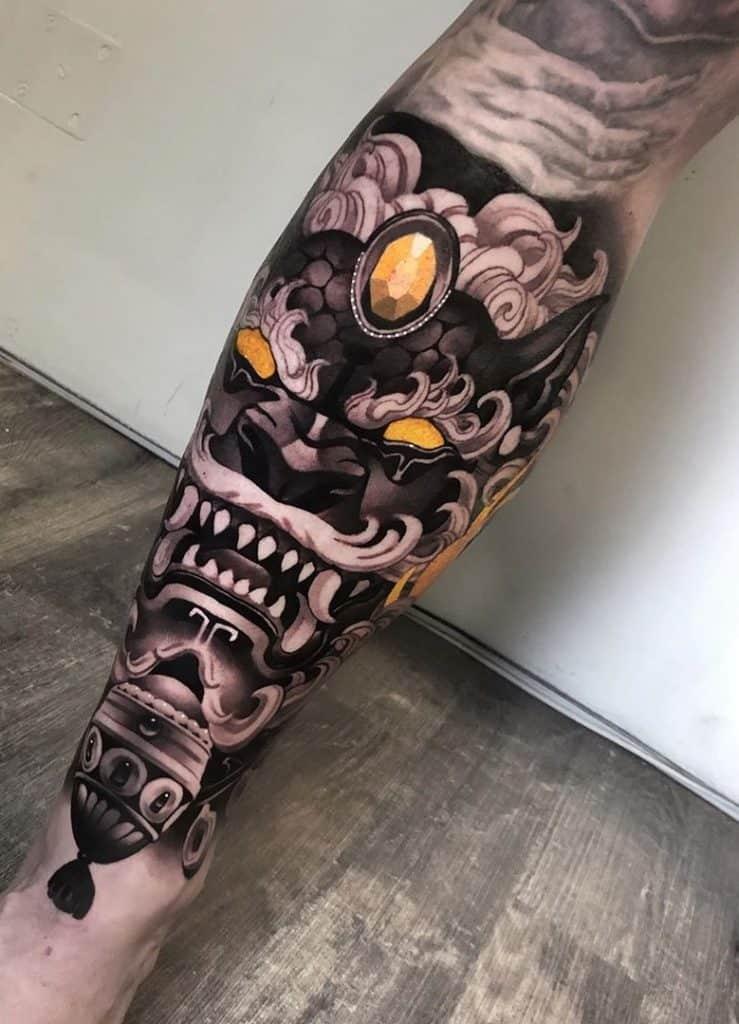Foo Dog Tattoo on Leg