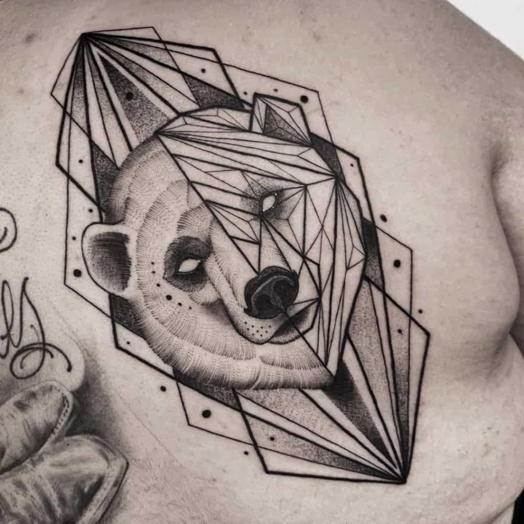 Geometric Polar Bear Tattoo