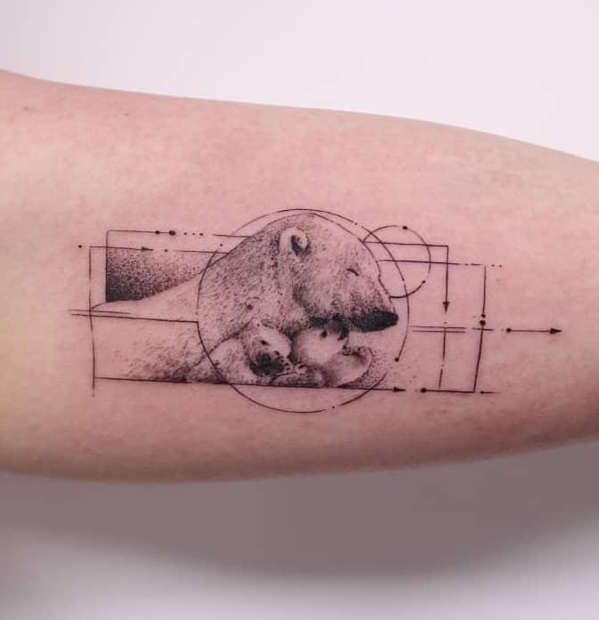 Graphic Polar Bear Tattoo