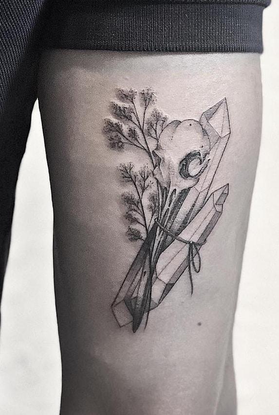 Hummingbird Skull Tattoo