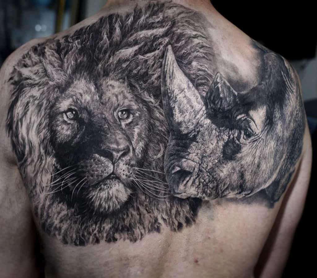 Lion and Rhino Tattoo