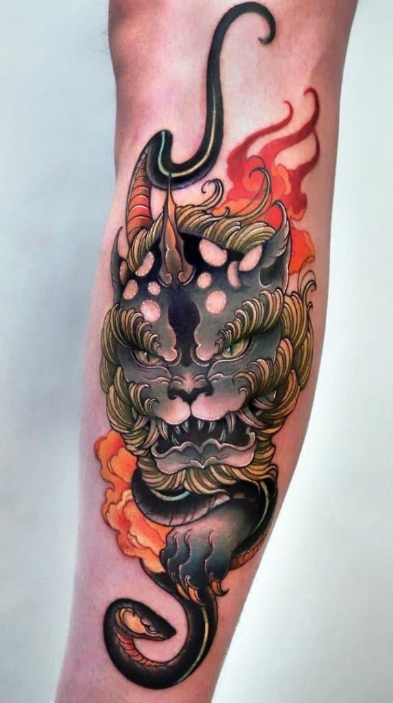Neo-Japanese Foo Dog Tattoo