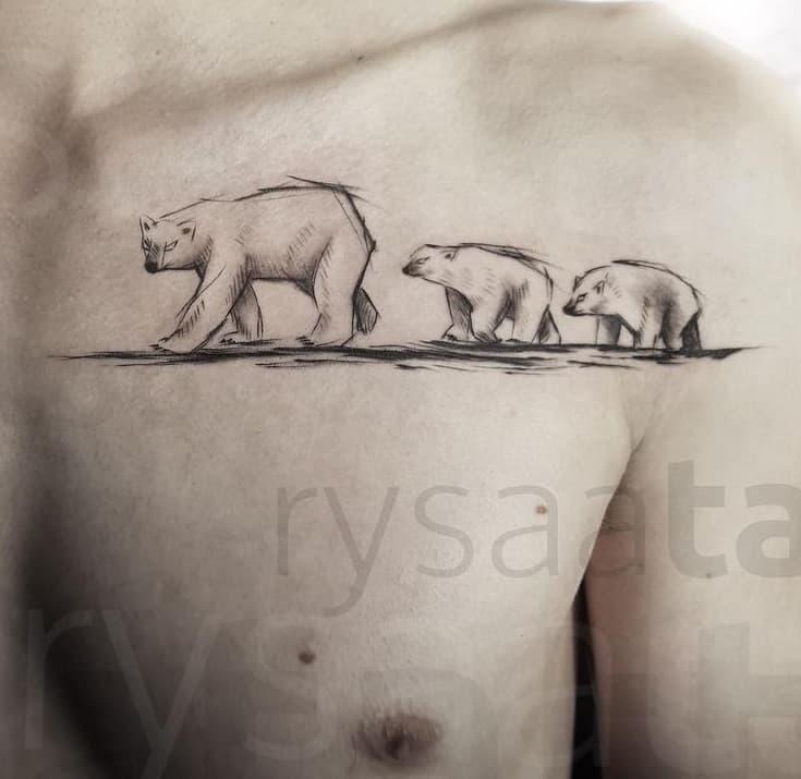 Polar Bear Family Tattoo