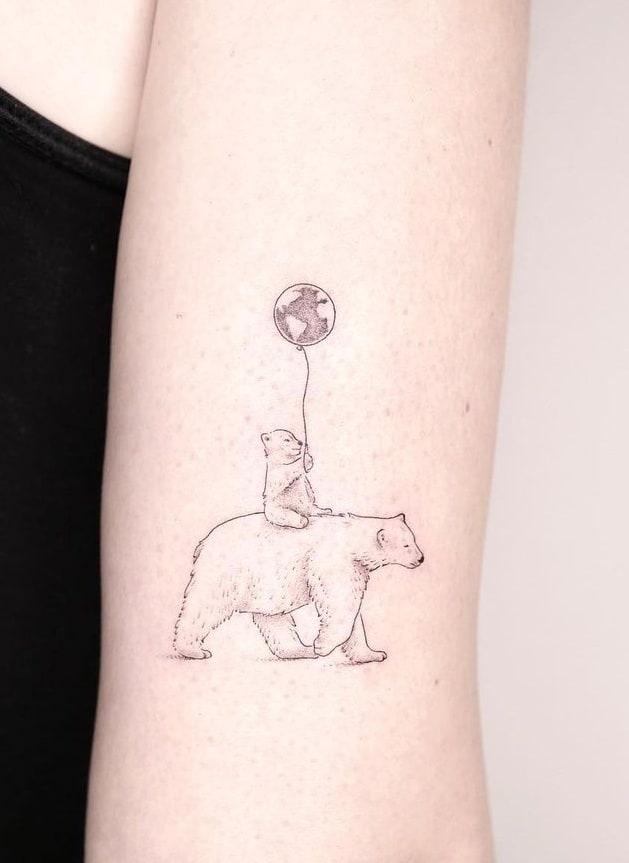 Polar Bear Tattoo on the Arm