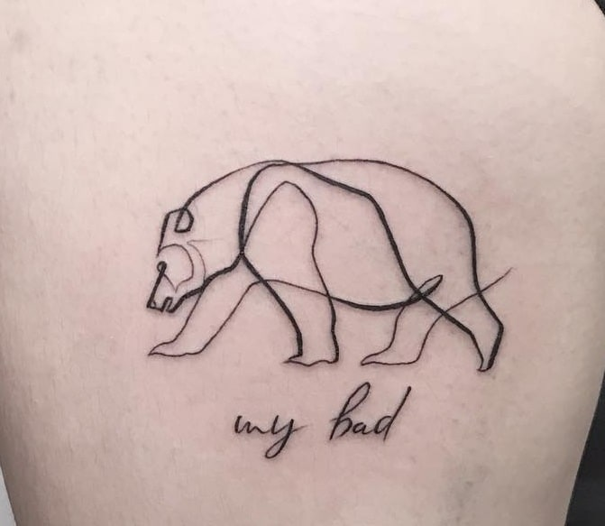 Polar Bear with Lettering Tattoo
