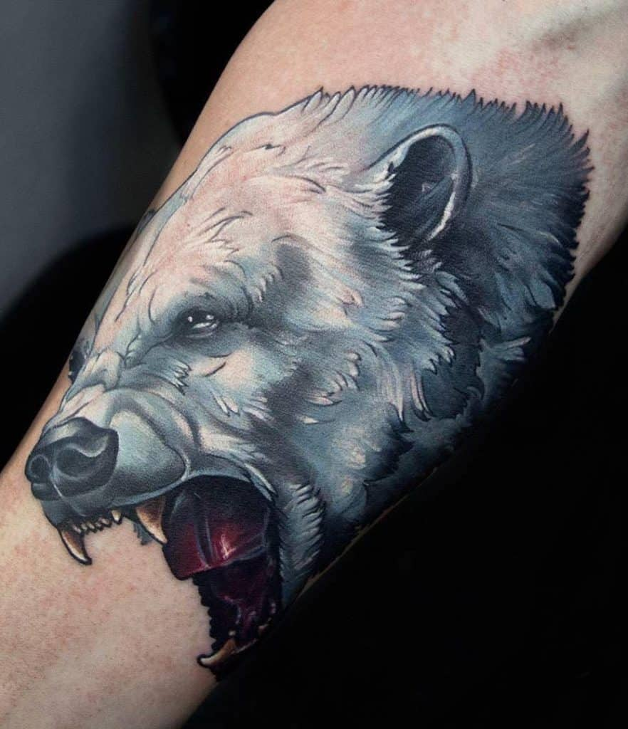 Roaring Polar Bear Tattoo
