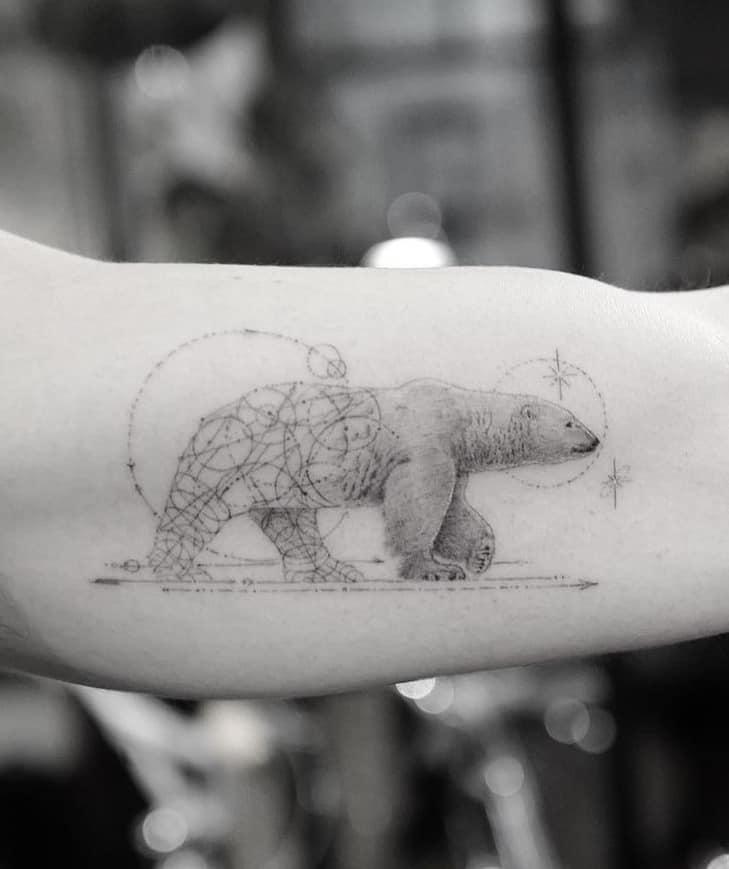 Single Needle Polar Bear Tattoo