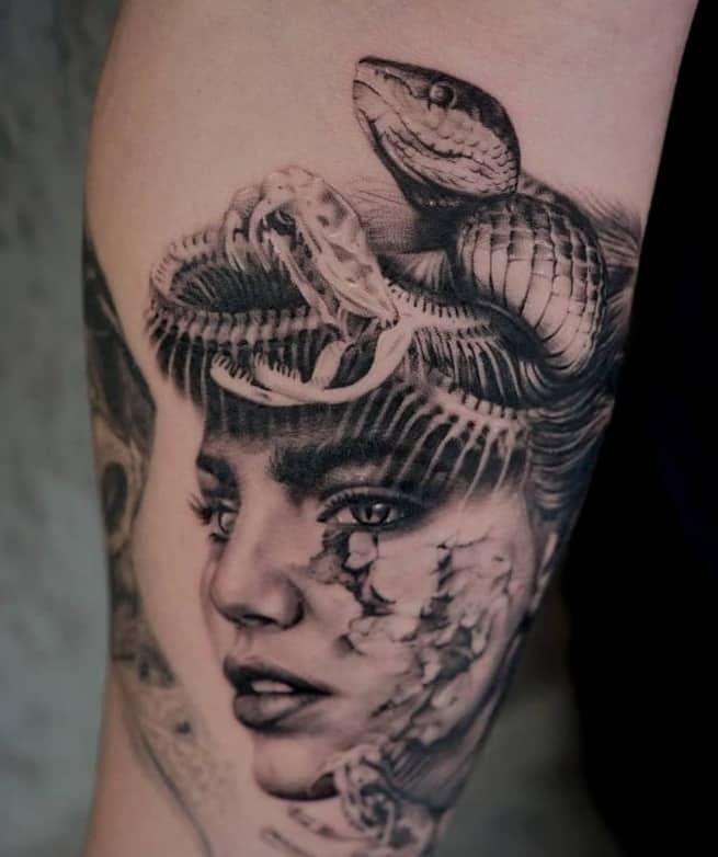 Snake skull tattoo