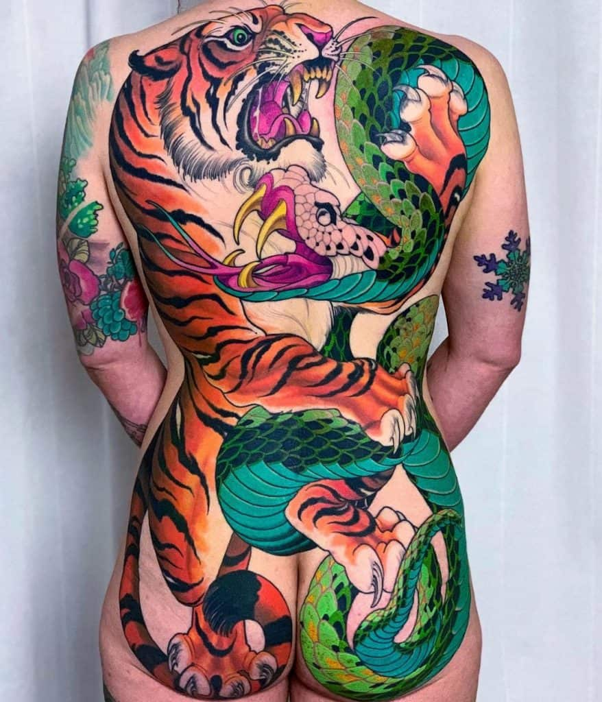 Tiger and Snake Tattoo