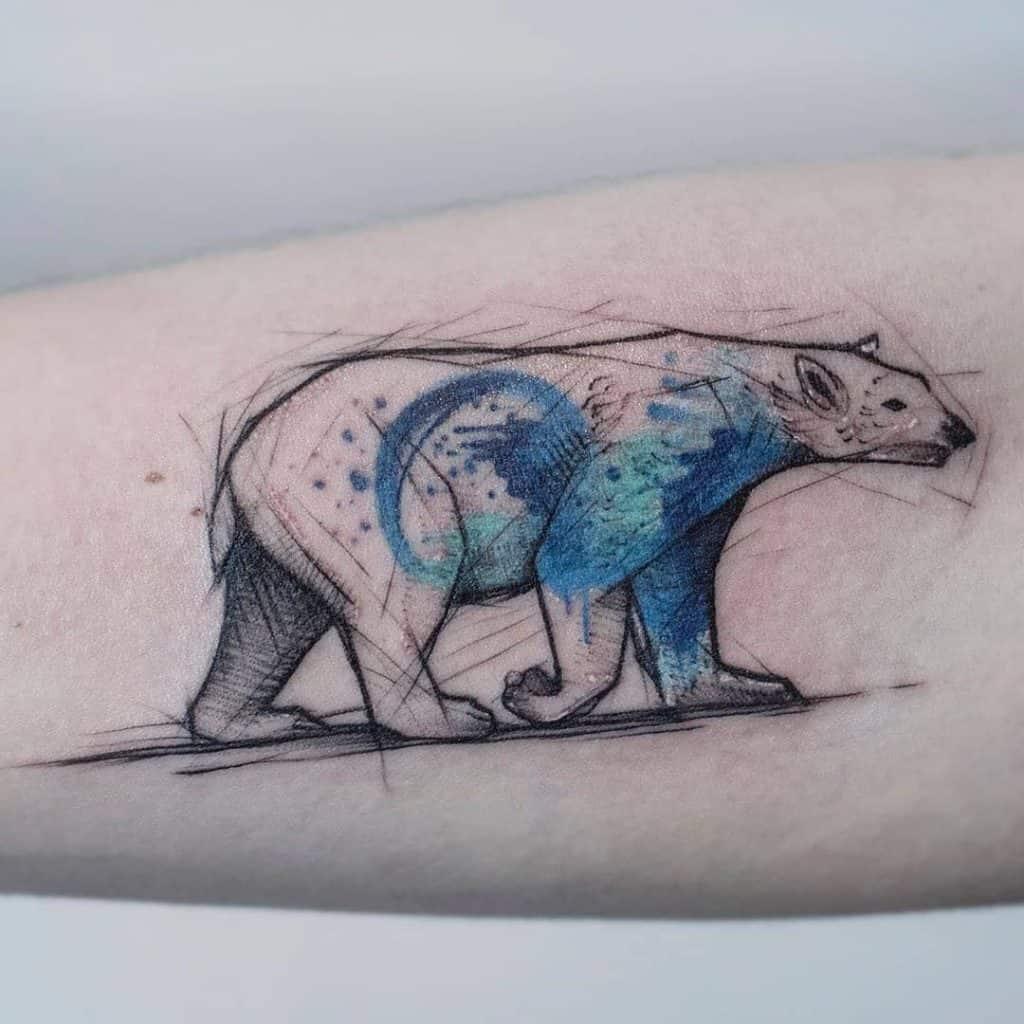 Watercolor Polar Bear Tattoo