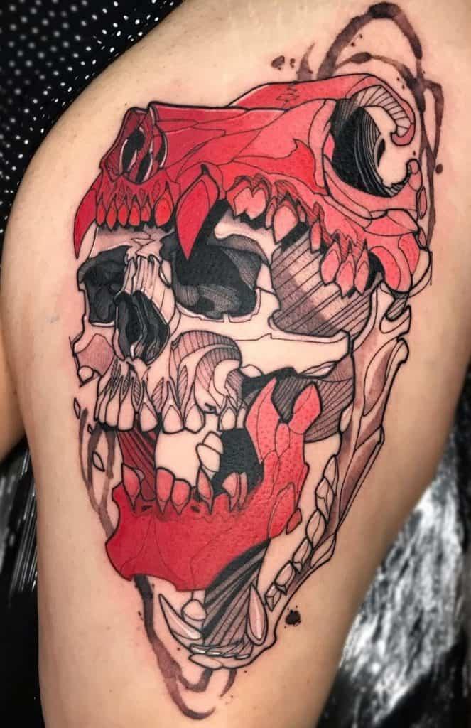 Wolf Skull Tattoo