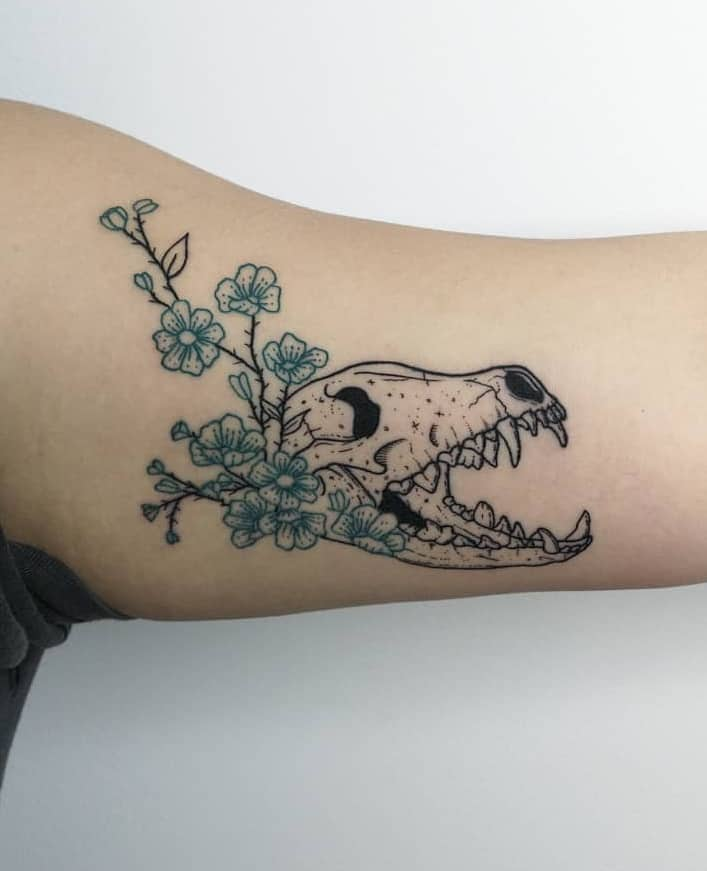 Wolf Skull Tattoo and Flower Tattoo