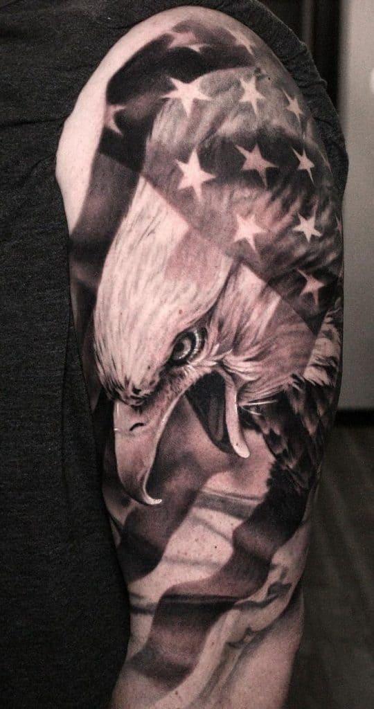 American Flag and Bald Eagle Tattoo