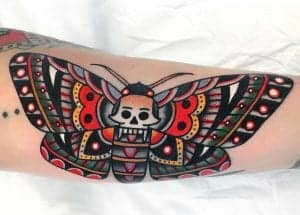 American Traditional Skull Butterfly Tattoo