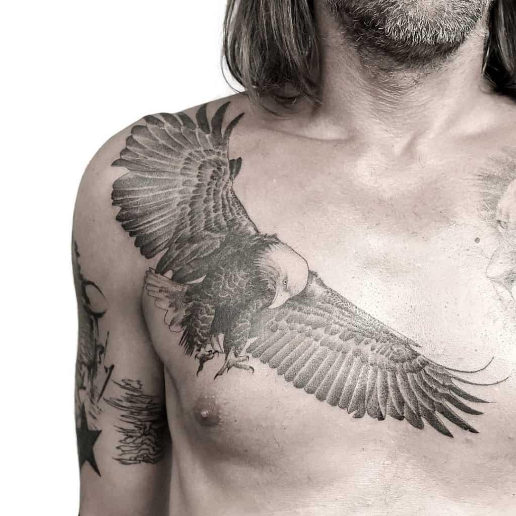 Bald Eagle Tattoo on Chest