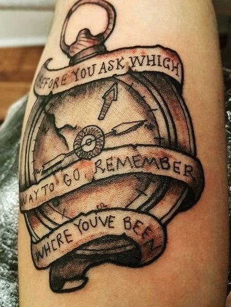 Broken Compass Tattoo