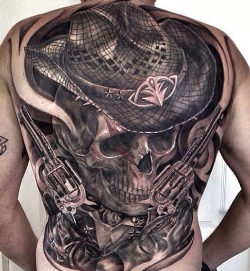 Cowboy Skull Tattoo on the Back