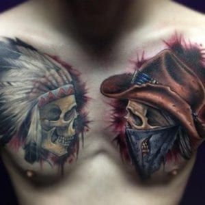 Cowboy Skull and Indian Skull Tattoo