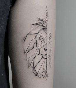 Geometric Half Lion Tattoo
