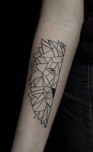 Geometric Lion Tattoo on Forearm