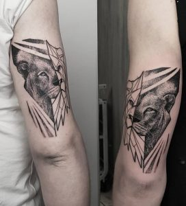 Geometric Lioness Tattoo