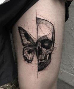 Half Butterfly Half Skull Tattoo